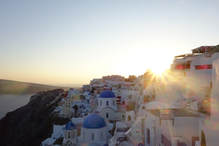08 Oia blue domes sunset